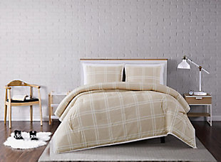 Plaid 3-Piece Full/Queen Comforter Set, Khaki, rollover