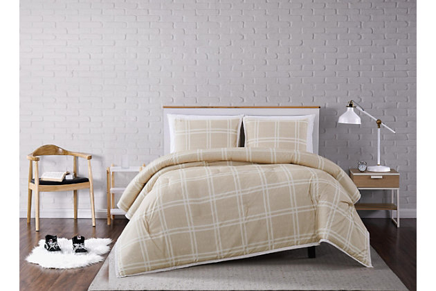 Plaid 3-Piece Full/Queen Comforter Set, Khaki, large