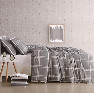 Plaid 2-Piece Twin XL Duvet Cover Set, Gray, large