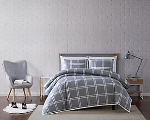 Plaid 2-Piece Twin XL Duvet Cover Set, Gray, rollover