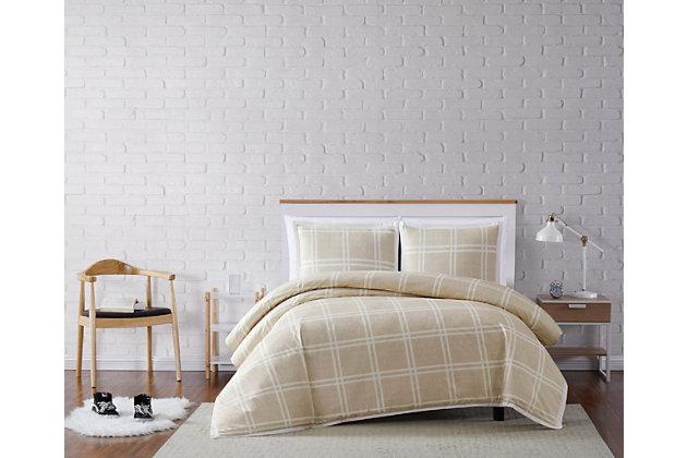 Plaid 2-Piece Twin XL Duvet Cover Set, Khaki, large