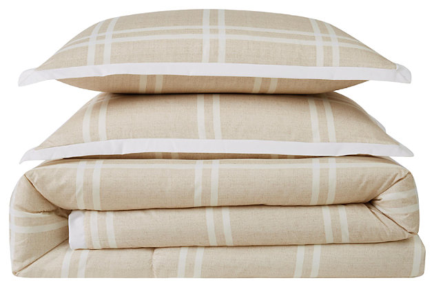 Plaid 3-Piece Full/Queen Duvet Set, Khaki, large