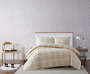 Plaid 3-Piece Full/Queen Duvet Set, Khaki, rollover