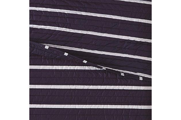 Striped 2-Piece Twin XL Quilt Set, Navy, large
