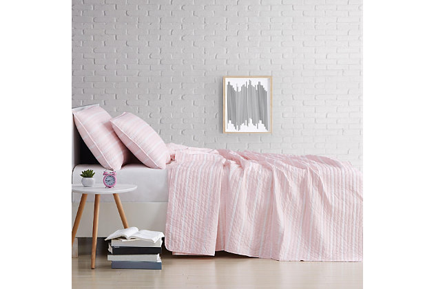 Striped 3-Piece Full/Queen Quilt Set, White, large