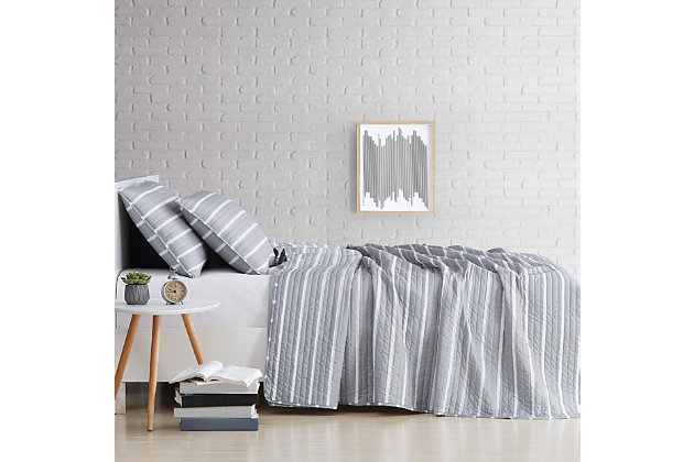 Striped 3-Piece Full/Queen Quilt Set, Gray, large