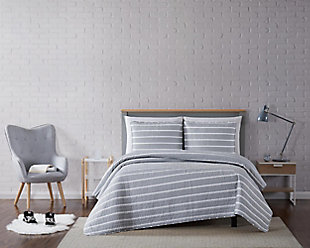 Striped 3-Piece Full/Queen Quilt Set, Gray, rollover