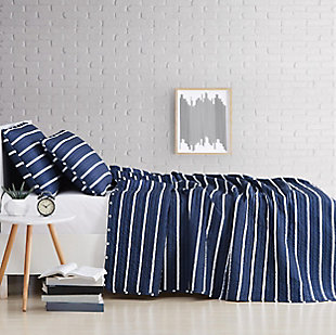 Striped 3-Piece Full/Queen Quilt Set, Navy, large