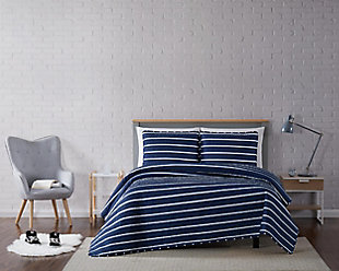 Striped 3-Piece Full/Queen Quilt Set, Navy, rollover