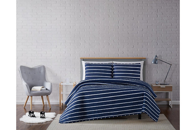 Striped 3-Piece King Quilt Set, Navy, large