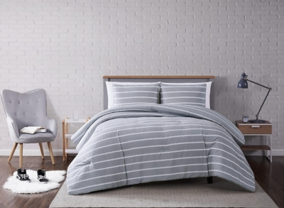 Striped 3-Piece Full/Queen Comforter Set, Gray, large