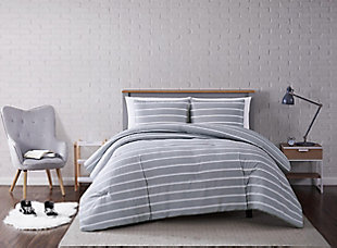 Striped 3-Piece Full/Queen Comforter Set, Gray, rollover