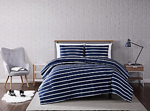 Striped 3-Piece Full/Queen Comforter Set, Navy, rollover