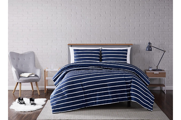 Striped 3-Piece Full/Queen Comforter Set, Navy, large
