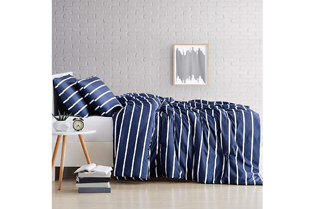 Striped 3-Piece Full/Queen Comforter Set, Navy, large