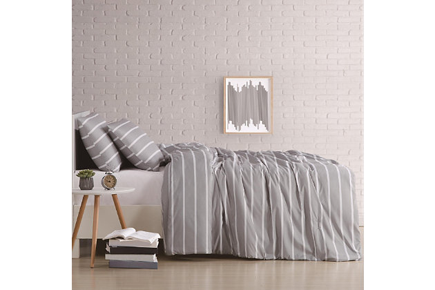 Striped 2-Piece Twin XL Duvet Cover Set, Gray, large