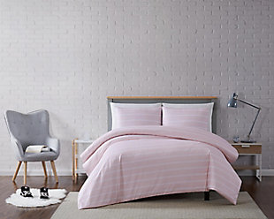 Striped 3-Piece Full/Queen Duvet Set, White, rollover