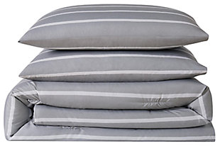 Striped 3-Piece Full/Queen Duvet Set, Gray, large