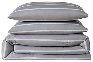 Striped 3-Piece Full/Queen Duvet Set, Gray, large
