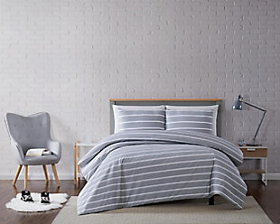 Striped 3-Piece Full/Queen Duvet Set, Gray, rollover