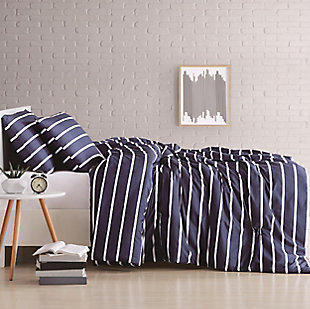 Striped 3-Piece Full/Queen Duvet Set, Navy, large