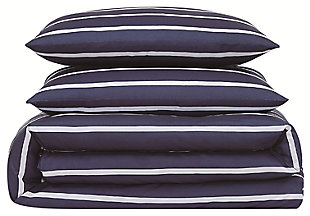 Striped 3-Piece Full/Queen Duvet Set, Navy, large