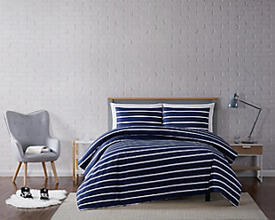 Striped 3-Piece Full/Queen Duvet Set, Navy, rollover