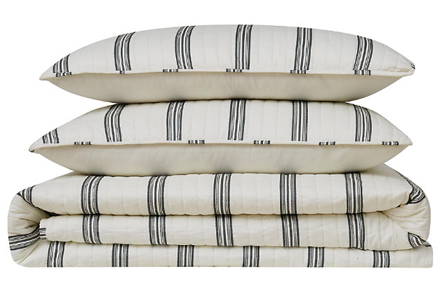 Striped 2-Piece Twin XL Quilt Set, Ivory, large