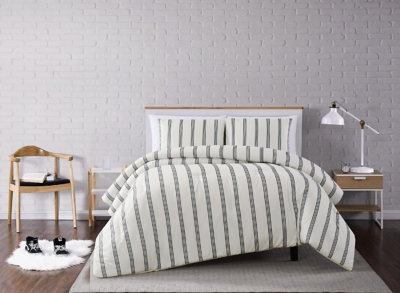 Striped 3-Piece Full/Queen Quilt Set, Ivory, large