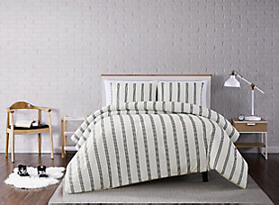 Striped 3-Piece Full/Queen Quilt Set, Ivory, rollover