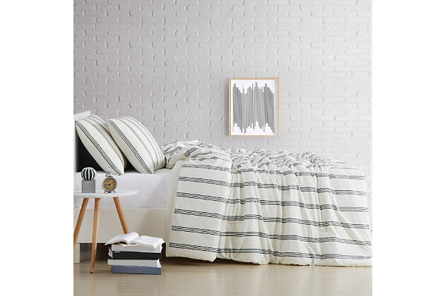 Striped 3-Piece King Quilt Set, Ivory, large