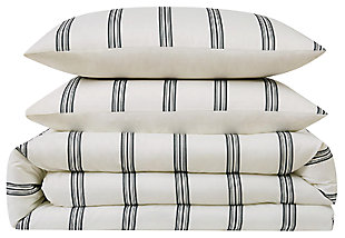 Striped 3-Piece Full/Queen Comforter Set, Ivory, large