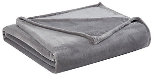 Velvet Full/Queen Blanket, Gray, large