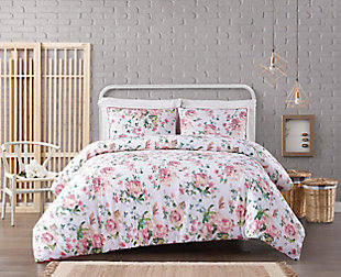 Floral 3-Piece King Comforter Set, White, rollover