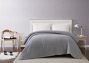 Microfiber Full/Queen Blanket, Gray, rollover