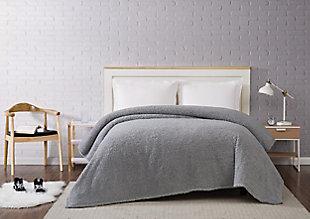 Microfiber Full/Queen Blanket, Gray, rollover