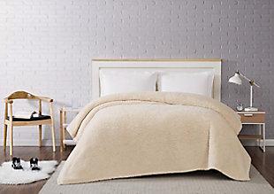 Microfiber Full/Queen Blanket, Ivory, rollover