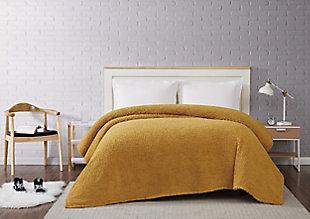 Microfiber Full/Queen Blanket, Mustard, rollover