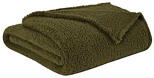 Microfiber Full/Queen Blanket, Olive Green, large