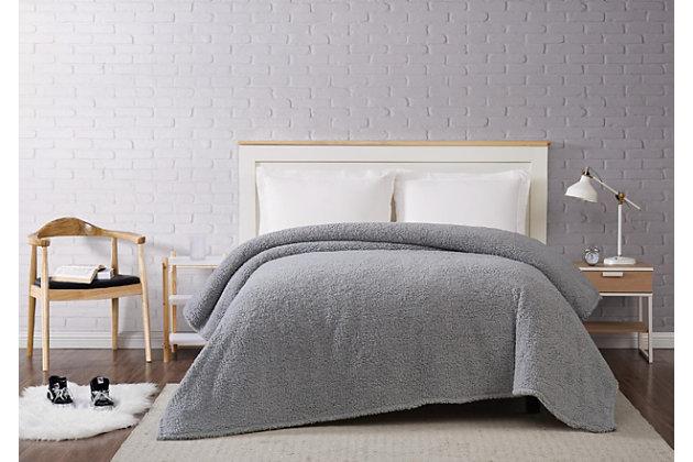 Microfiber King Blanket, Gray, large