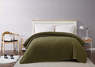 Microfiber King Blanket, Olive Green, large