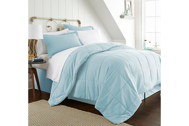 Microfiber Twin 8-Piece Bed in a Bag, Aqua, large