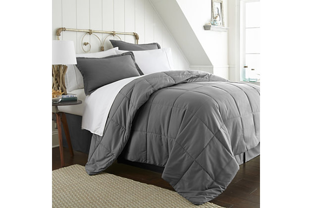 Microfiber Twin 8-Piece Bed in a Bag, Charcoal, large