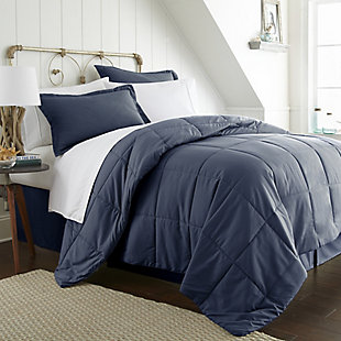 Microfiber Twin 8-Piece Bed in a Bag, Navy, large