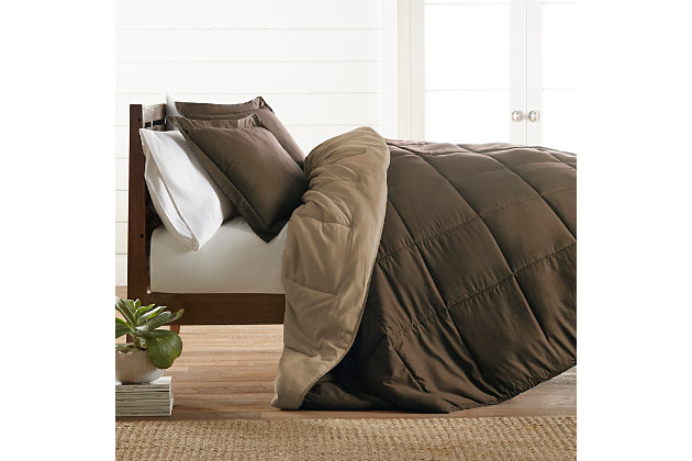 Reversible King/California King Down Alternative Comforter, Chocolate, large