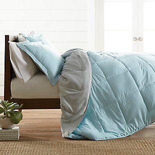 Reversible Twin/Twin XL Down Alternative Comforter, Aqua/Ash, rollover