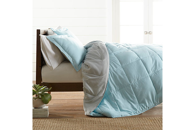 Reversible Twin/Twin XL Down Alternative Comforter, Aqua/Ash, large