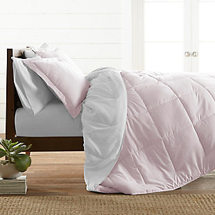 Reversible Twin/Twin XL Down Alternative Comforter, Blush/White, rollover