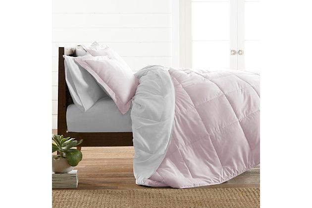 Reversible Twin/Twin XL Down Alternative Comforter, Blush/White, large