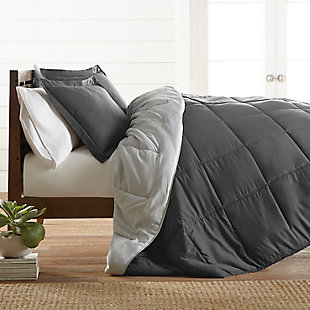 Reversible Twin/Twin XL Down Alternative Comforter, Charcoal/Ash, rollover